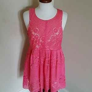 Free People Coral Lace Fit & Flare Dress Size 8